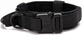 N/Z Collar de perro militar, collar táctico para mascotas con asa, hebilla de metal pesado, collar para perros medianos y ...