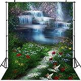 Primavera Paisaje Telón de Fondo País de Las Maravillas Pastizales Cuento de Hadas Bosque Niños Setas recién Nacidas Elfos Flores Photocall Banner A1 9x6ft / 2.7x1.8m