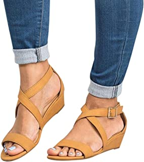 Women's Summer Ankle Strap Buckle Low Wedge Platform Heel Sandals Fashion Design Pump Shoes (US:8, Brown-2)