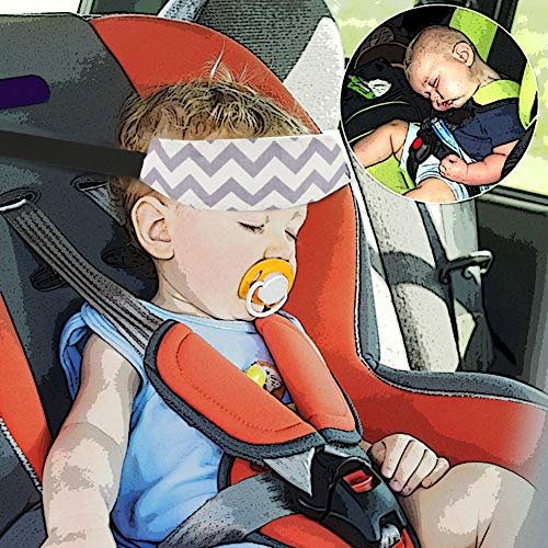 Accmor Baby Carseat Head Support Band Strap 2 Pack for Carseats Stroller Neck Relief Head Strap for Toddler Child Kids Infant(Grey)