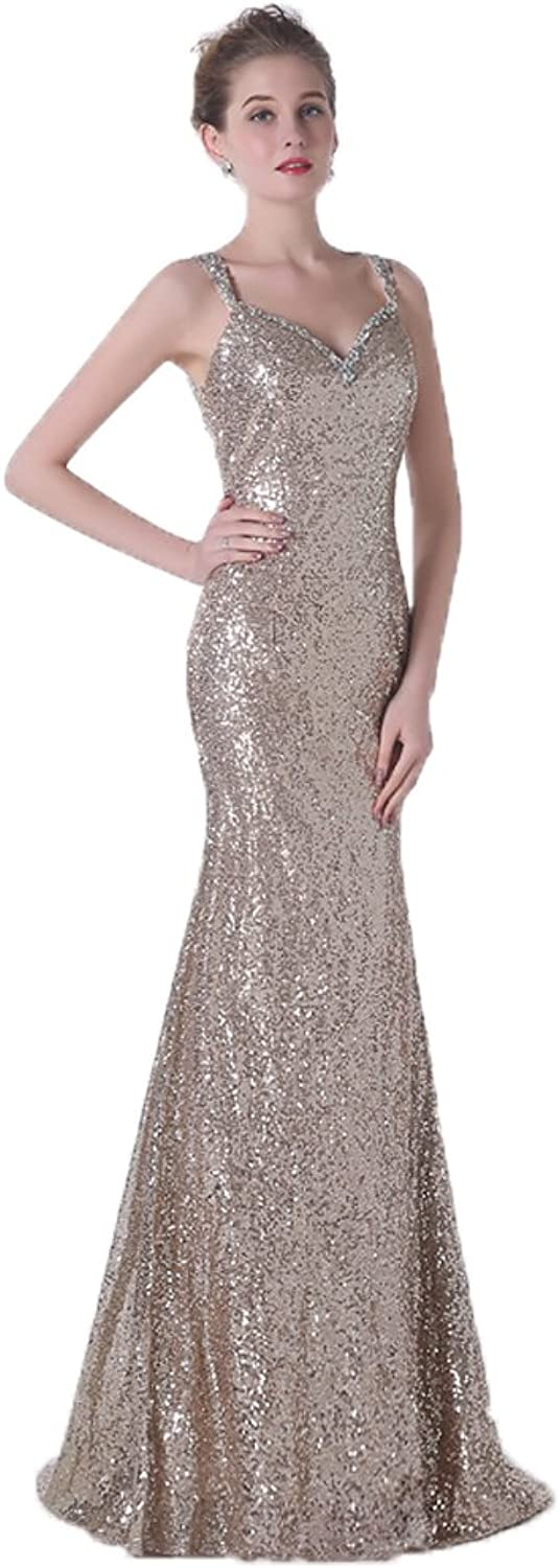 Anna's Bridal Women's Spaghetti Straps Sequin Long Prom Dresses gold Bridesmaid Dress