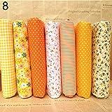Amesii, tessuto di cotone a pois e fiori per cucito e fai da te, 25 x 25 cm, 7 pezzi  Yellow