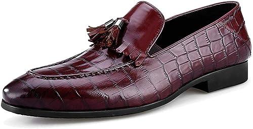 Willsego Chaussures de Conduite Plates pour Hommes Chaussures Bateau en Cuir véritable Slip-on Monk Affaires Mocassins Robe Habillées (Couleuré   Wine, Taille   43)