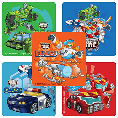 SmileMakers Transformers Rescue Bots Stickers - Birthday and Theme Party Supplies - 100 Per Pack