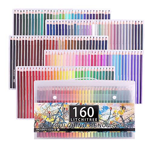 Brutfuner - Juego de 160 lápices de colores a base de aceite suave para libros de colorear adultos, artistas, bocetos y niños