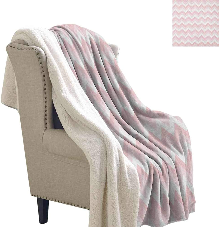 Chevron Winter Quilt Zigzag Chevron Grunge Pattern in Soft colors Simplicity Artful Design Soft Blanket Microfiber pink Pale Pink White W59 x L31