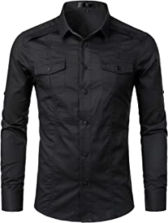 Mens Tactical Style Long Sleeve Casual Cargo Twill Work Shirts with Pocket