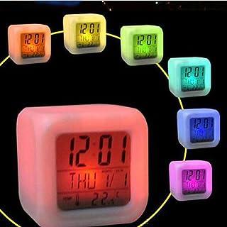 STRIR Despertador Reloj Digital con Alarma Luz Nocturna Lámpara Brillante LED con 7 Colores cambiables,LED Wake Up Light con Sonidos