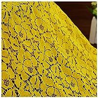 レース 生地 肌に優しい ハンドメイド 手作りキット 手作り 裁縫 DIY 衣装材料 洋服 ドレス ワンピース カーテン などに適用 幅1.5m メーター で販売(Color:フレッシュイエロー)