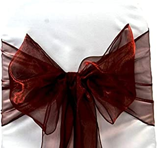 SARVAM FASHION SF New Pack of 100 Chair Decorative Organza Sashes Bow Designed for Wedding Events Banquet Home Kitchen Decoration - (100, Burgundy)