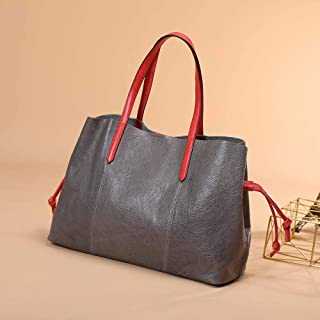ZXF The New First Layer of Leather Handbags Leather Handbag Ms. Family Name Wind Solid Color Magnetic Clasp Tote Handbag 48x16x30cm Beautiful and Fashionable Handbag (Color : Gray)