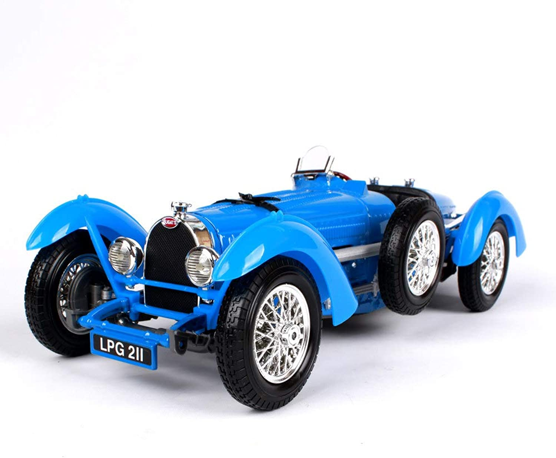 LUCKYCAR Modellauto 1:18 Bugatti Typ 59-Simulationsklassiker,Modellauto Oldtimer,Der Kofferraum Motorraum kann geffnet Werden,Aktivittstor, Verhltnis 1 18,Fertiges Modell,25.2 cm, blau