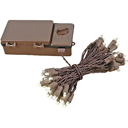 Novelty Lights 50 Light LED Battery Operated Christmas Mini Light Set, Warm White, Brown Wire, 18' Long