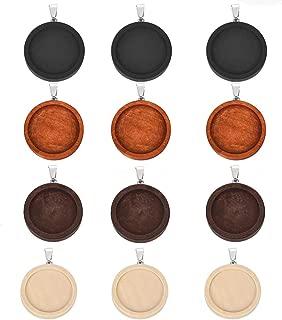 LANBEIDE 20 PCS Wooden Bezel Pendant Trays Round Cabochon Setting for Bracelet Necklace Jewelry Making (25mm-20PCS, Mixed))