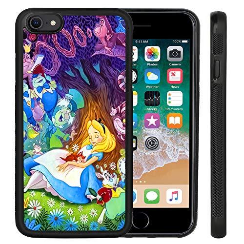 DISNEY COLLECTION iPhone SE 2020 Case iPhone 7/8 Case Alice in Wonderland, Tire Outline Anti-Slide Design PC Hard Back & Soft TPU Side Shockproof Protective Case for iPhone 7/8/SE 2020 4.7 Inch