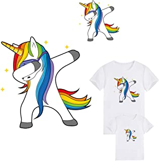 Unicorn Stickers Set Iron On Patches Clothes Deco Heat Transfer Sticker Badges DIY Accessory for Families Lovely Unicorns Transfer Patches DIY Appliques Decoration(2 Pcs Large and Small)