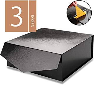 MALICPLUS Gift Boxes with Lids, Square 10x10x4 Inches, Groomsman Proposal Boxes, Sturdy Boxes Storage Boxes Collapsible Magnetic Closure Gift Boxes (Embossing Glossy Black, 3 Luxury Boxes)