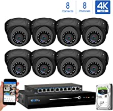 GW Security 8 Channel 4K NVR 8MP IP Camera Network PoE H.265 Surveillance System with 8-Piece Ultra HD 4K 2160P Weatherproof Outdoor/Indoor Dome Security Cameras - Grey