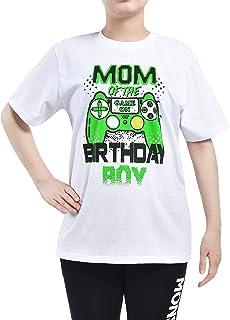 WAWSAM Mom of The Birthday Boy Camiseta de Cumpleaños para Mujeres