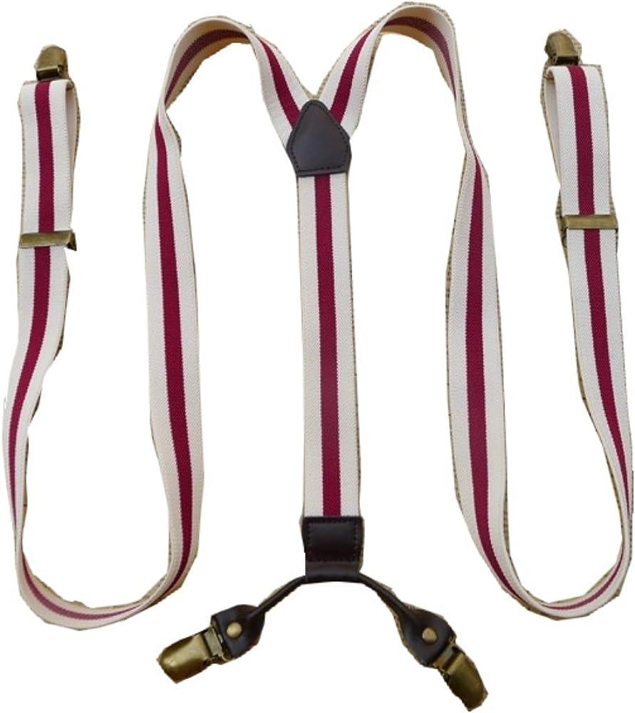 Unisex Striped Suspenders Braces Adjustable 4 Clips Clip-on Width 0.98