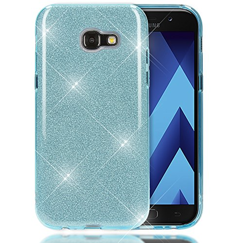 NALIA Handyhülle kompatibel mit Samsung Galaxy A5 2017, Glitzer Slim Silikon-Hülle Back-Cover Schutzhülle, Glitter Sparkle Handy-Tasche Bumper, Dünne Bling Strass Smart-Phone Hülle, Farbe:Türkis