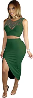 2 PCs Sleeveless Caged Cut Out Cropped Crop Top and Front Side Split Slit Irregular Hem Midi Bodycon Skirt Set