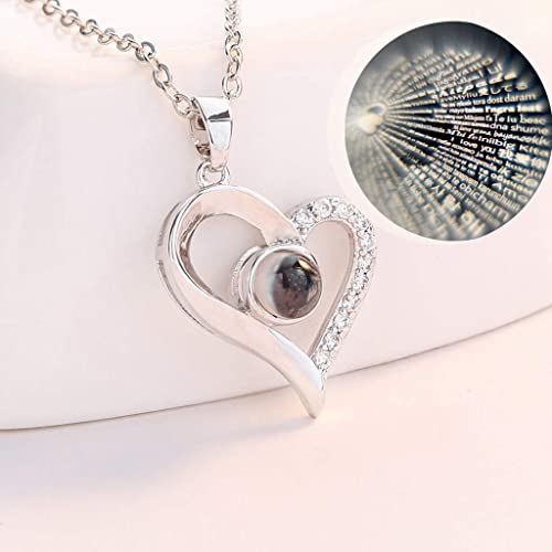 high quality OPTIMISTIC Women's Heart Pendant Alloy Necklace I Love You Necklace 100 Languages Love Necklace Gift for Valentines online sale online sale Day online