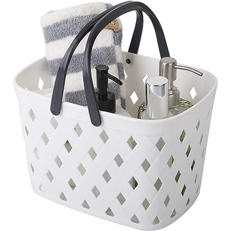 Panier de rangement avec poignées en plastique pour salle de bain, cuisine, blanc