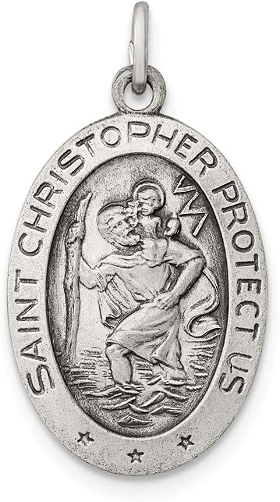 free Solid 925 Our shop OFFers the best service Sterling Silver Catholic Pend Saint Patron Christopher