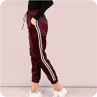 Side Striped Satin Trainer Drawstring Waist Mid Waist Sweatpants Joggers Modern Women Trousers,Fuchsia,S