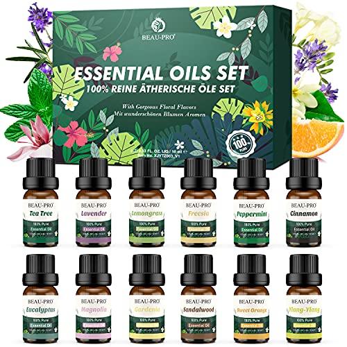 Aceites esenciales set 12, lavanda pura, eucalipto, limón, limoncillo, naranja dulce, árbol del té, menta piperita, bergamota