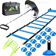 MLCINI Speed Agility Training Set, Includes 1 Resistance Parachute, 1 Agility Ladder, 4 Steel Stakes, 4 Adjustable Hurdles, 12 Disc Cones   Speed Training Equipment for Soccer Football Basketball