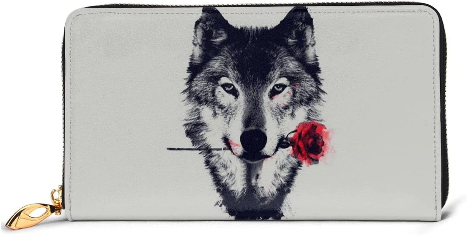 Wolf And Rose Leather Wallet Cheap mail order shopping Max 57% OFF Women Long Purse Zip Around Clutch