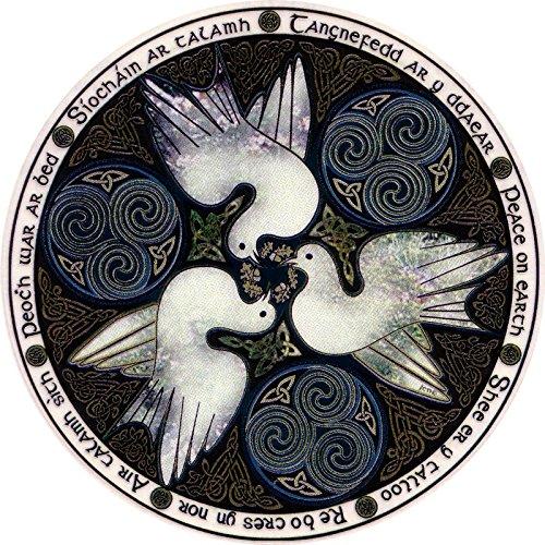 Celtic Art Studio Peace Doves - Window Sticker/Decal (4.5' X 4.5') Circular Translucent