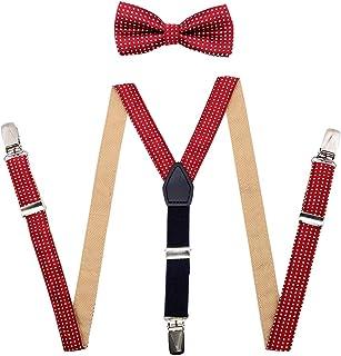 JTCMOJS Burgundy Suspenders Bow Tie for Boys Elastic Y Back Brace Leather 3 Clip