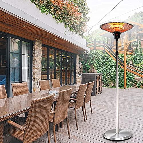Estufa Exterior Jardin Electrica Calentador de jardín Calentador de patio al aire libre eléctrico independiente de 2KW para exteriores - Calentador de espacio de altura ajustable G08013 Jardín de