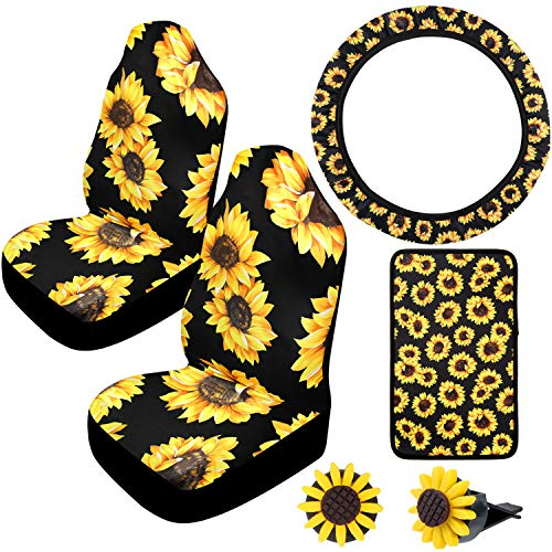 Universal Sunflower Accessories for Sunflower Front Seat Covers, Car Sunflower Steering Wheel Cover, 2 Pieces Car Vent Sunflower and Center Console Armrest Pad Cover (Black and Yellow)