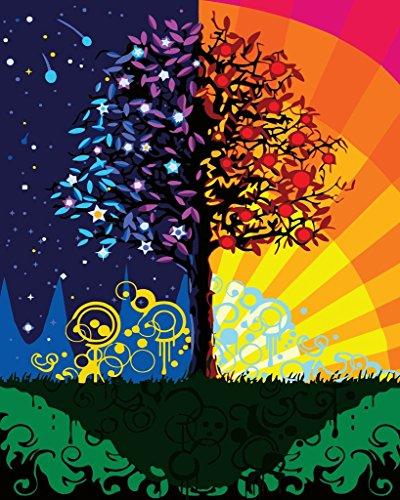 Preisvergleich Produktbild YEESAM ART DIY Ölgemälde Malen nach Zahlen Erwachsene Kinder,  Sonnenschein Stern Baum Zahlenmalerei ab 5 Öl Wandkunst (Baum,  mit Rahmen)