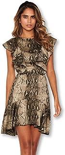 AX Paris Women's Snake Print Frill Detail Dress