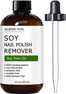 Soy Nail Polish Remover by Majestic Pure - Infused with Tea Tree Oil - Free of Acetone and Acetate, Removes Nail Polish Naturally While Moisturizing Nails and Cuticles - 4 fl oz