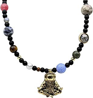 Linisorn Retro Gold Astronaut Necklace Spaceman Pendant 9 Planets Solar System Beaded Jewelry