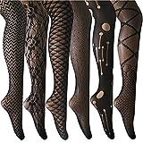 ANDIBEIQI Collants Bas Résille 6 Paires Femmes Hollow Collant extensible filet élastique confortable noir/motifs fleurs, 6 Noir, Taille unique