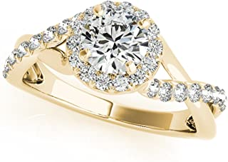 0.50 Carat Halo Round Engagement Diamond Ring In 14k Solid Rose, White & Yellow Gold