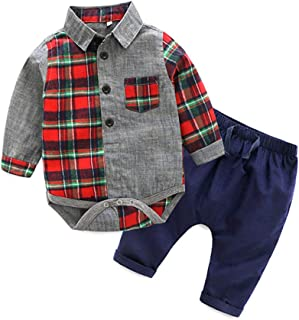Gentle Baby Boys Cotton Long Sleeve Plaid Romper Jumpsuits with Corduroy Pants Clothing Set