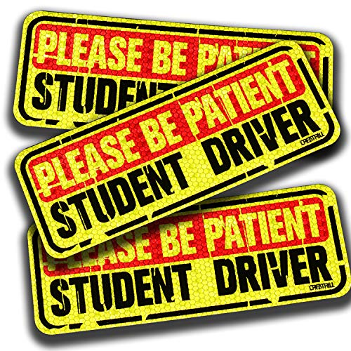 CREATRILL 3 Pack Tattered Student Driver Magnets Honeycomb Reflective Car Safety Sign Magnetic Vehicle Bumper Sign Sticker for New Driver