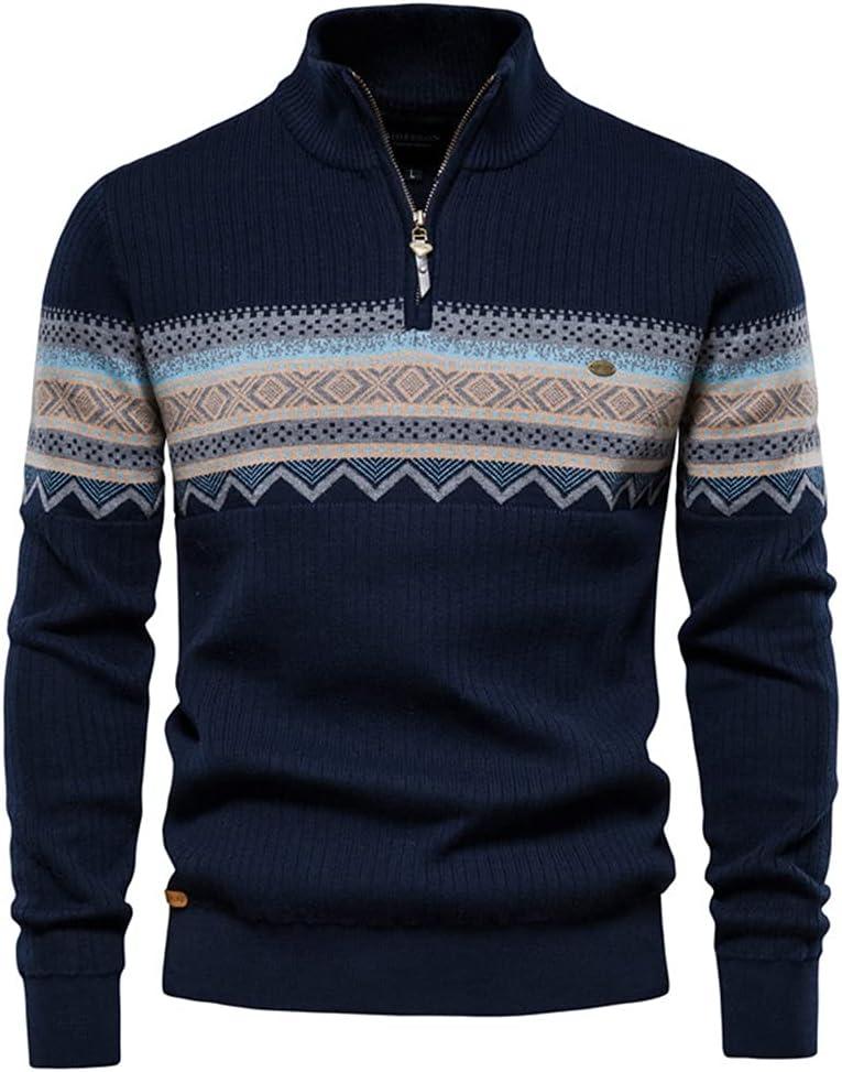GPPZM Zipper Mock Neck Sweater Men Casual Streetwear Spliced Pullovers Mens Sweaters Winter Warm Sweater (Color : B, Size : 3XL)