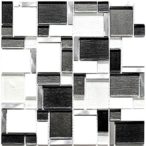 Mosaik Fliese Aluminium weiß grau schwarz Glasmosaik Crystal für WAND BAD WC DUSCHE KÜCHE FLIESENSPIEGEL THEKENVERKLEIDUNG BADEWANNENVERKLEIDUNG Mosaikmatte Mosaikplatte