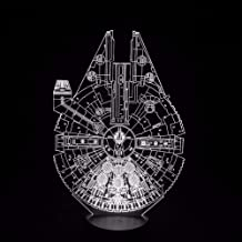 Lámpara De Ilusión 3D Luz De Noche Led Star Wars Halcón Milenario 7 Cambio De Color Lámpara De Atmósfera Usb Iluminación De Novedad Para Cumpleaños De Juguetes Regalo De Vacaciones