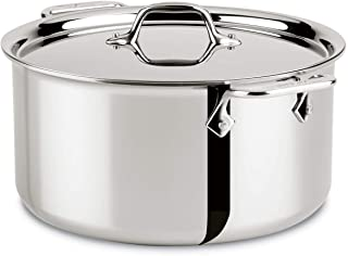 All-Clad 4506 Stainless Steel Tri-Ply Bonded Dishwasher Safe Stockpot with Lid / Cookware, 6-Quart, Silver 8-Quart 8701004410