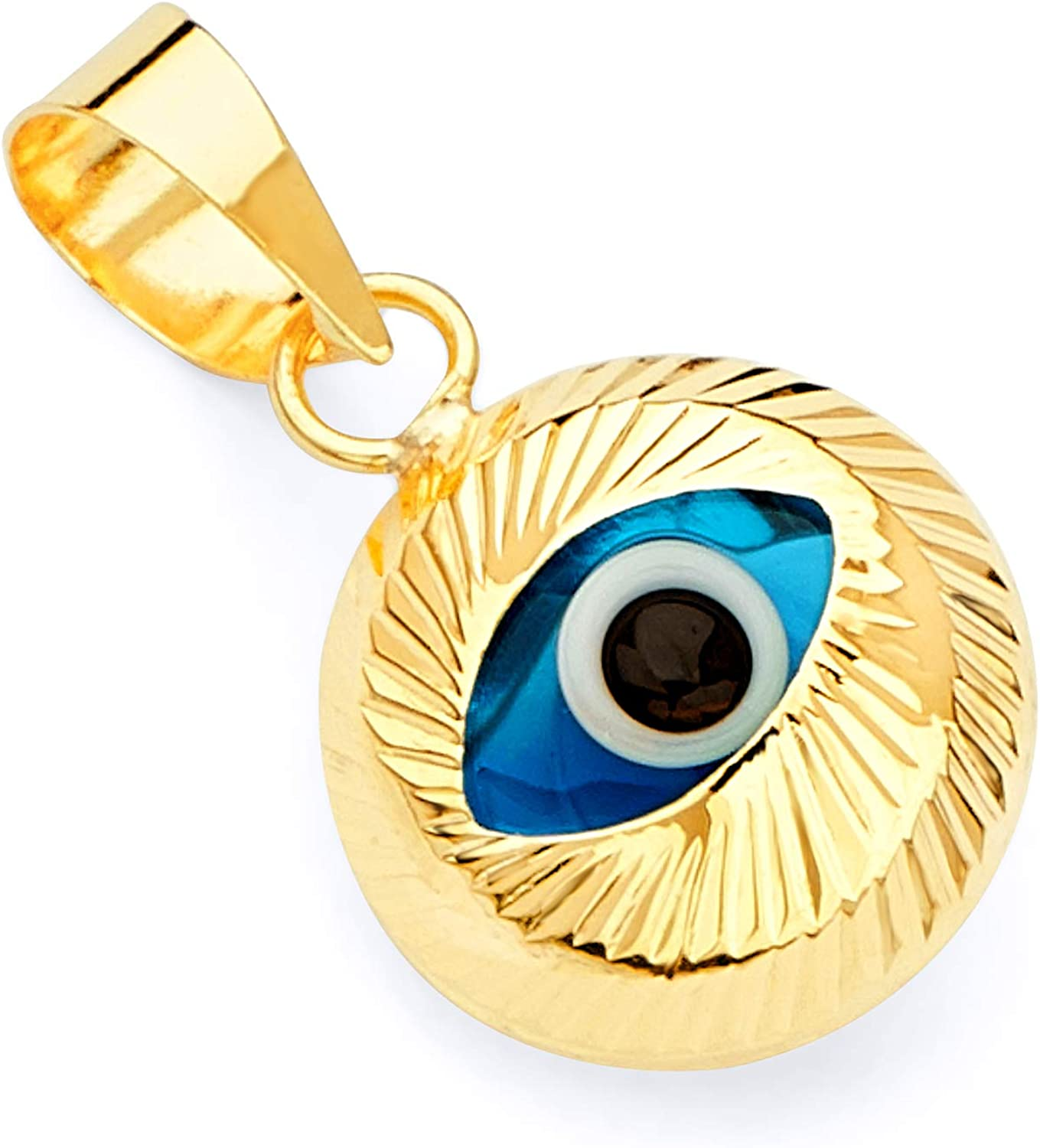 14k REAL Yellow Gold Evil Eye Fluted Charm Pendant